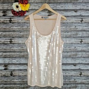 JLo Jennifer Lopez | Blush Sequin Tank Top | XL